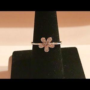 925 Silver Round Cut Sapphire Women Flower Size 9